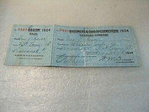 1904 BALTIMORE & OHIO SOUTHWESTERN RAILROAD CO. ticket CINCINNATI to ST. LOUIS