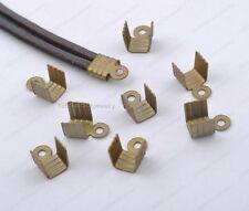 100Pcs Bronze plated Cord Crimp End Bead Caps Connectors 4x7mm