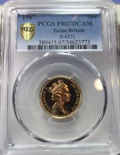 GREAT BRITAIN FULL SOVEREIGN 1987 PCGS PR67DCAM ENGLISH PROOF GOLD, UPGRADEABLE!