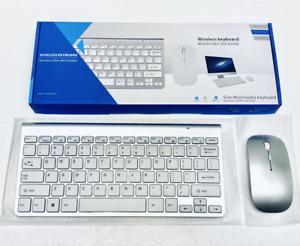 2.4GHz Slim Wireless Keyboard & Mouse Combo, Silver Laptop Mac Apple PC Computer