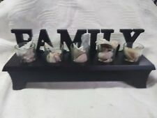 """Wooden Letters Sign Hanging/TableTop Decoration with glasses and shells """"Family"""""""