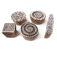 Hand Made Spiral and Round Pattern Wooden Printing Blocks (Set of 5)