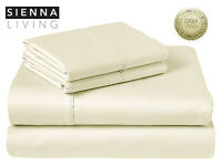 Sienna Living 1000 Thread Count American Pima Cotton Sheet Set Queen Ivory $299