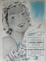 PUBLICITÉ DE PRESSE 1938 CRÈMES SIMON REFLÈTE LA BEAUTÉ - HENRI SJOBERG