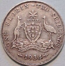 1934 Australian Silver TWO Shilling Florin (TWO BOB) KING GEORGE V (very Nice)