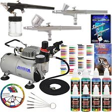 3 Airbrush Kit System 6 Color Paint Set Air Compressor Dual-Action Color Wheel