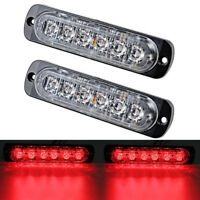 2x Car Truck 6 LED Strobe Light Flash Emergency Hazard Warning Red Lamp 12~24V