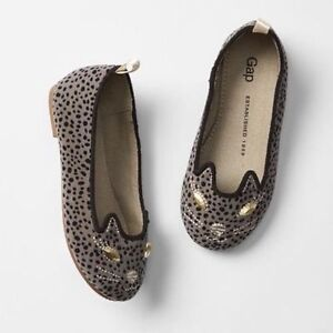 Baby Gap NWT Kitty Cat Charcoal Gray Leopard Face Ballet Shoes 6 $30
