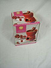 Wilton Fondue Set Red Ceramic, with 4 forks