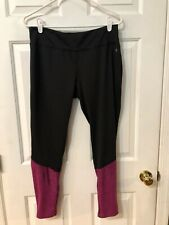DANSKIN NOW WOMEN'S BLACK AND PINK FITTED LEGGINGS SIZE L