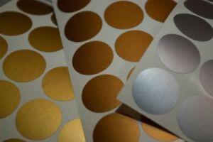 120 Polka Dot Stickers, round envelope seals, gold silver or copper metallic