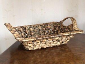 Light Brown Vintage Square Fruit Basket with Handles