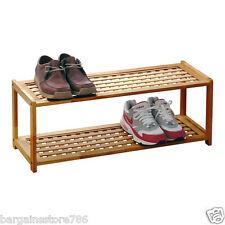 2 Tier Shoe Rack Walnut Wood Storage Organiser Stackable Tidy Criss Cross 6 Pair