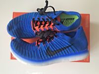 Nike Free RN Flyknit Running Shoes Trainers Size UK 7.5 Blue / Team Orange
