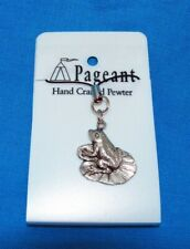 Frog On A Lily Pad Silver Pewter Mobile Phone / Bag Charm