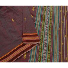 Sanskriti Vintage Red Saree Pure Cotton Woven Craft Fabric Premium 5 Yard Sari
