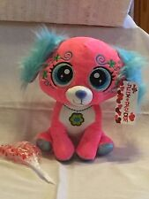 "Dog Plush  10"" Stuffed Toy Valentine Easter Pink Big Eyes Embroidered"