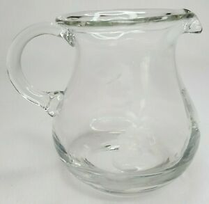 """Small Glass Pitcher Syrup Creamer 4"""" Tall Pitcher Etched Glass Flower Design"""