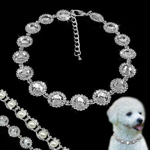 Bling Rhinestone Dog Necklace Collar Diamante Pearls for Dogs Puppy Chihuahua