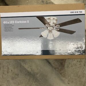 Clarkston II 44 in. LED Indoor Brushed Nickel Ceiling Fan with Frosted Light Kit
