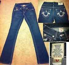 True Religion Brand Jeans Becky Blue Bootcut Leg white stitch Stretch-sz 24 0 XS
