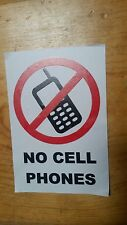 No Cell Phone No Mobile Phone Decal Vinyl Sticker  ( 1 pc)   4inx6in