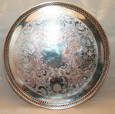 Primrose Plate Round Footed Silver Metal Tray E.P Copper  2036  AS-IS
