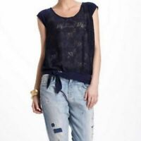 ANTHROPOLOGIE Women's Vanessa Virginia Lace Front Top Size Small Navy Blue