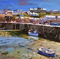 Jeremy Sanders Original Oil Painting - Boats At Porthleven Cornwall