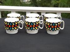 Set  5 FIVE Mann Made Floral Mugs Retro Mid Century Modern Eames Atomic