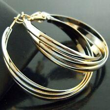 STUD HOOP CLIP EARRINGS GENUINE REAL 18K MULTI-TONE GF GOLD TWIST ITALIAN DESIGN