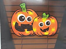 Lighted Jack Couple Pumpkin Halloween Window Decoration - 1 Piece