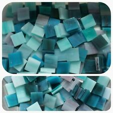 """100 - 1/2"""" Mosaic Tiles Stained Glass Mixed Teal Blue Green"""