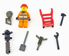 Lego Construction Worker Minifig Random with Accessories Hand Truck Chainsaw +++