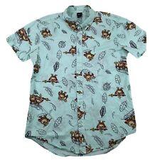 Disney Men's Moana Beware The Kakamora Button Up Shirt Teal Medium