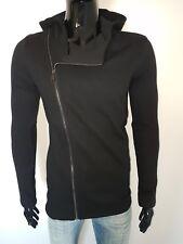 felpa uomo nero cappuccio e zip trasversale tasche laterali S M L XL made italy
