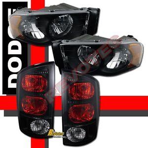 02-05 Dodge Ram 1500 2500 3500 Pickup Black Headlights + Tail lights Dark Smoke