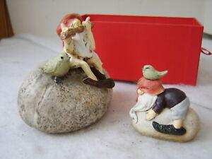 Trolls Sitting on Rocks - 2 Handmade Resin Figurines