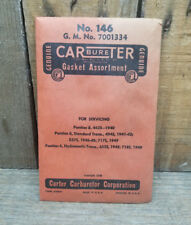 NOS PONTIAC 6 8 CARTER CARBUERTOR GASKET SET OEM VTG CARB SERVICE KIT USA OLD