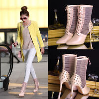 Womens Hollow Out Lace Up Mesh High Heel Stiletto Pointed Toe Sandals Ankle Boot