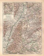 BADEN Freiburg Karlsruhe Lörrach Feldberg Schwarzwald  historische Karte 1893