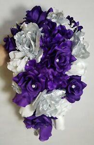 Purple Silver White Rose Bridal Wedding Bouquet Accessories