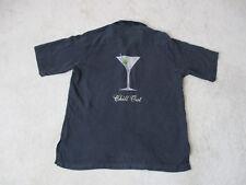 Tori Richard Hawaiian Shirt Adult Small Black White Martini Embroidery Silk Mens