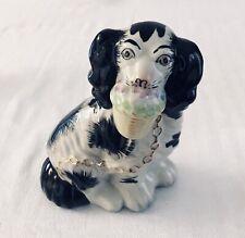 Vtg Staffordshire Porcelain Dog King Charles Spaniel Black White Basket Chain
