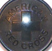 American Red Cross Bakelite Button Black Uniform Coat Jacket Vintage #35 As Is
