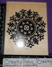 STAMPIN UP MEDALLION 1 RUBBER STAMPS CIRCLE LEAF DECOR LACE BACKGROUND
