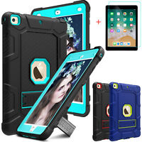 For iPad 9.7 2018/6th Gen/Air 2 Hard Kickstand Case Cover With Screen Protector