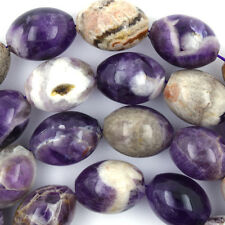 "20mm natural amethyst barrel beads 15"" strand S2"