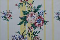 Yellow Stripes w/Flowers, Vintage P. Kaufman Chintz, $9.50/yd. 28+ Yards Avail..