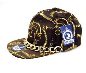 Hip Hop Style Hat Cap Luxury Gold Chain Flat Bill Baseball Cap- Brown